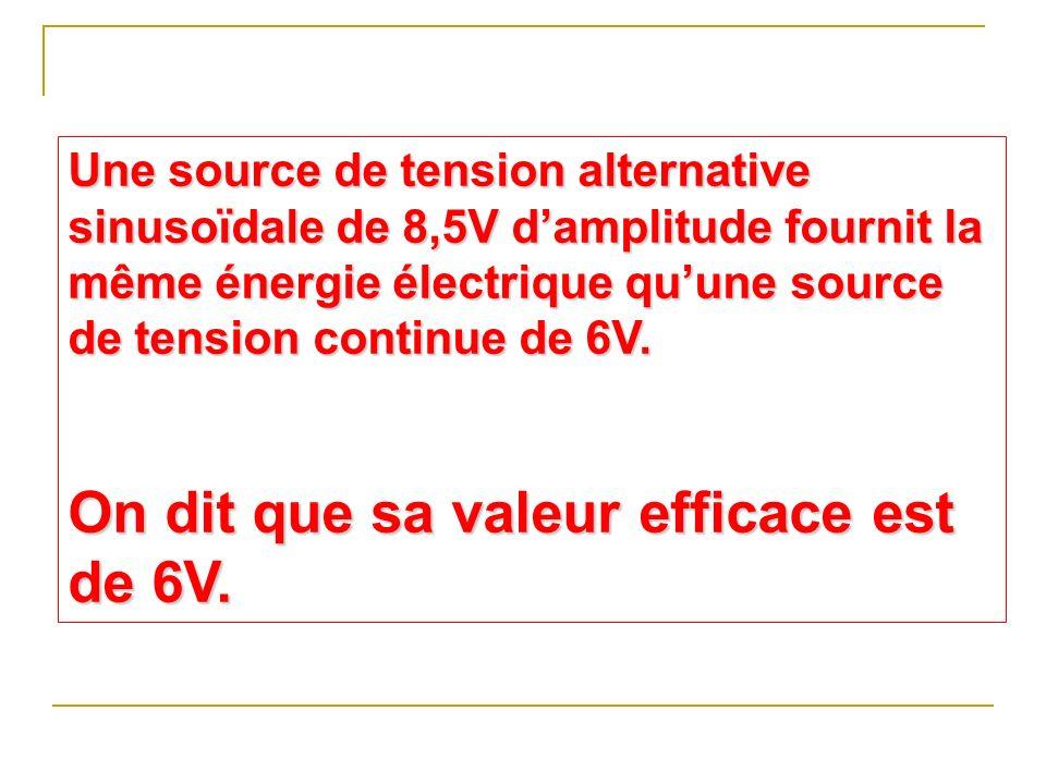 On dit que sa valeur efficace est de 6V.