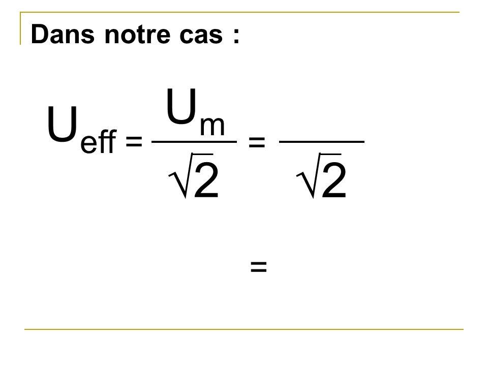 Dans notre cas : Um Ueff = = √2 √2 =