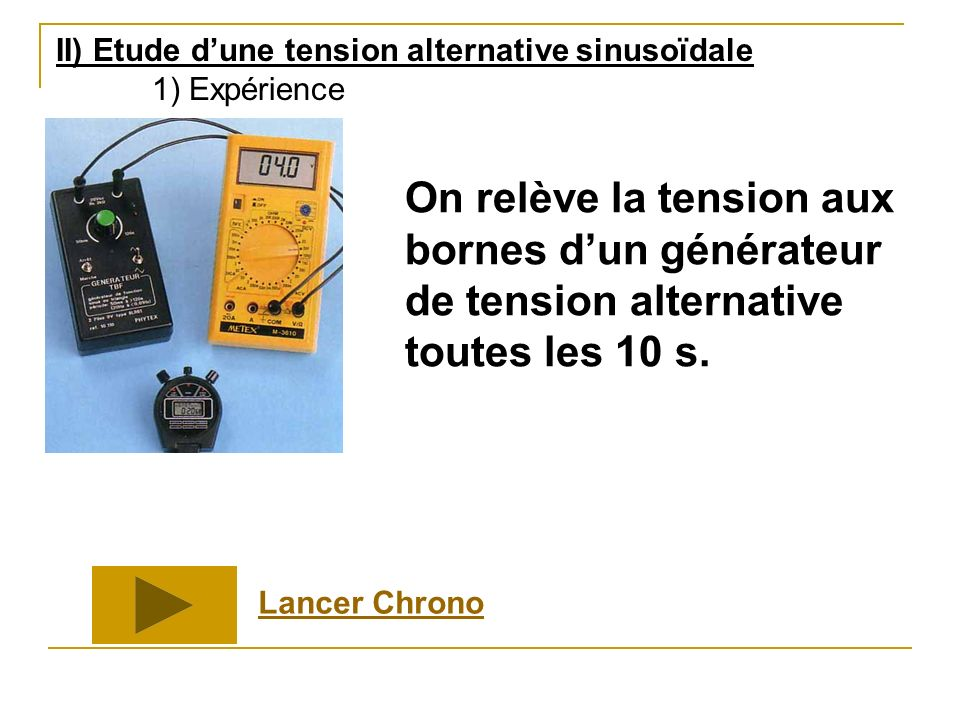 II) Etude d'une tension alternative sinusoïdale