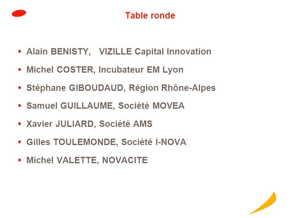 Table ronde Alain BENISTY, VIZILLE Capital Innovation. Michel COSTER, Incubateur EM Lyon. Stéphane GIBOUDAUD, Région Rhône-Alpes.