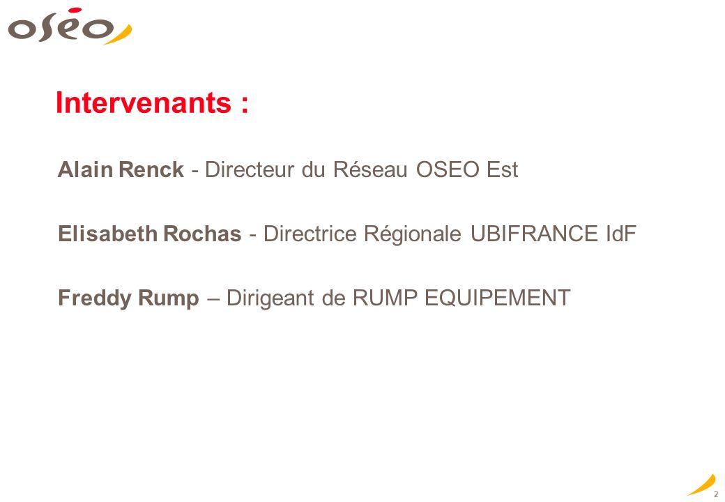 Intervenants : Alain Renck - Directeur du Réseau OSEO Est