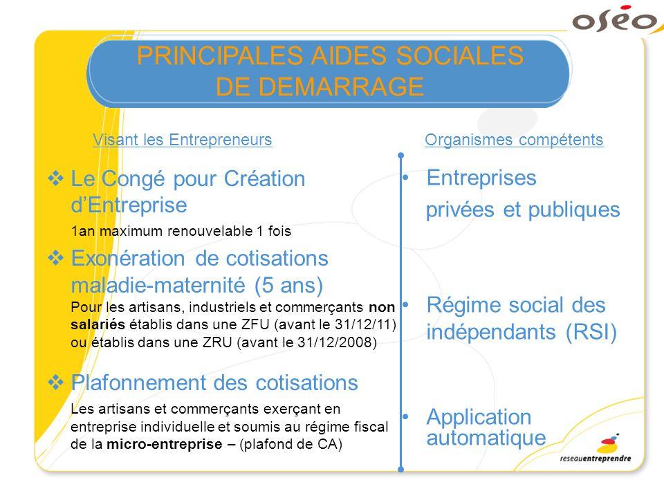 PRINCIPALES AIDES SOCIALES DE DEMARRAGE