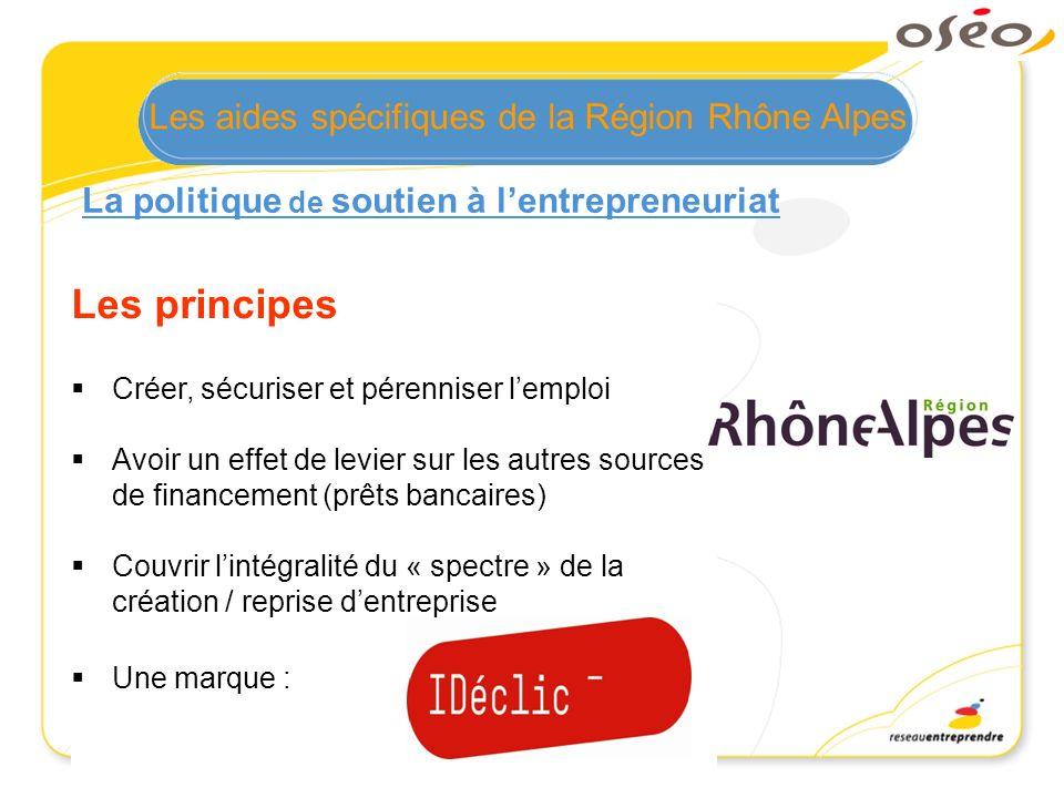 Les principes Les aides spécifiques de la Région Rhône Alpes