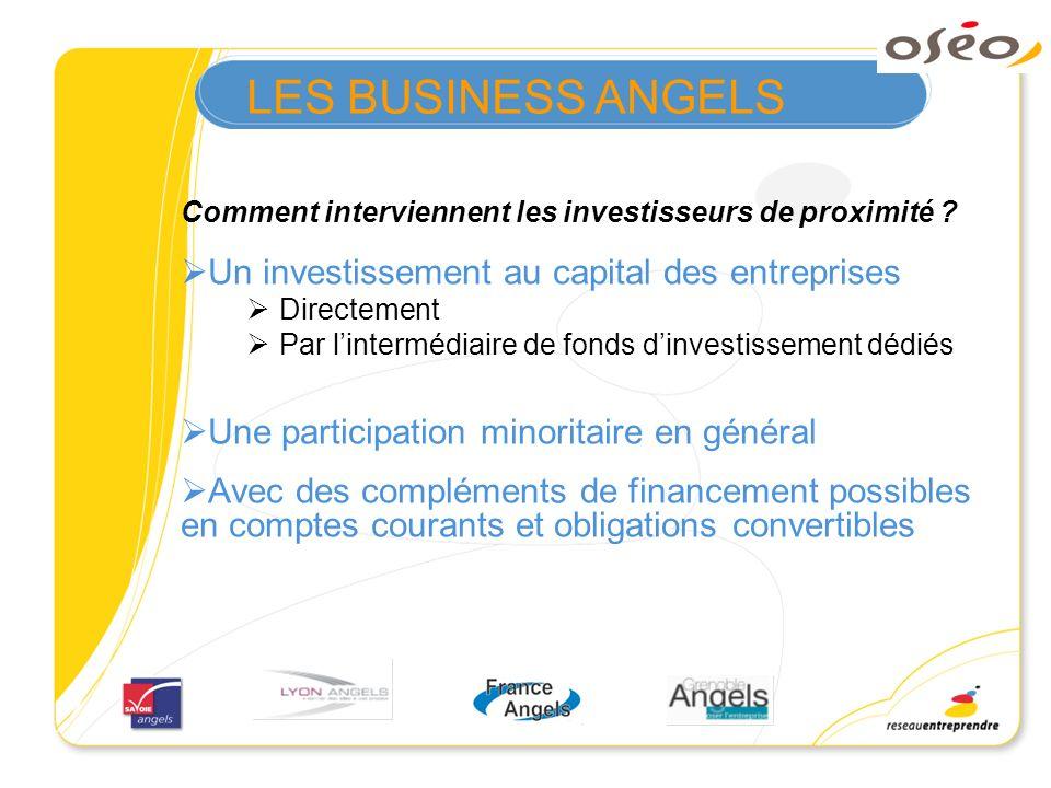 LES BUSINESS ANGELS Un investissement au capital des entreprises
