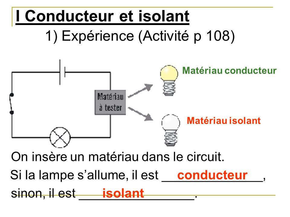 I Conducteur et isolant 1) Expérience (Activité p 108)
