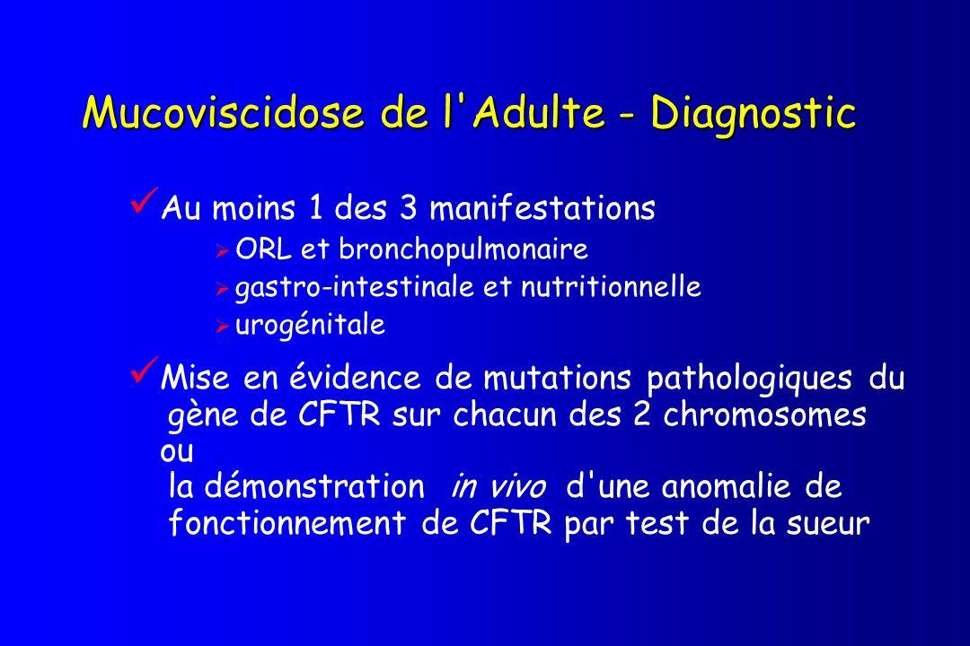 Mucoviscidose de l Adulte - Diagnostic