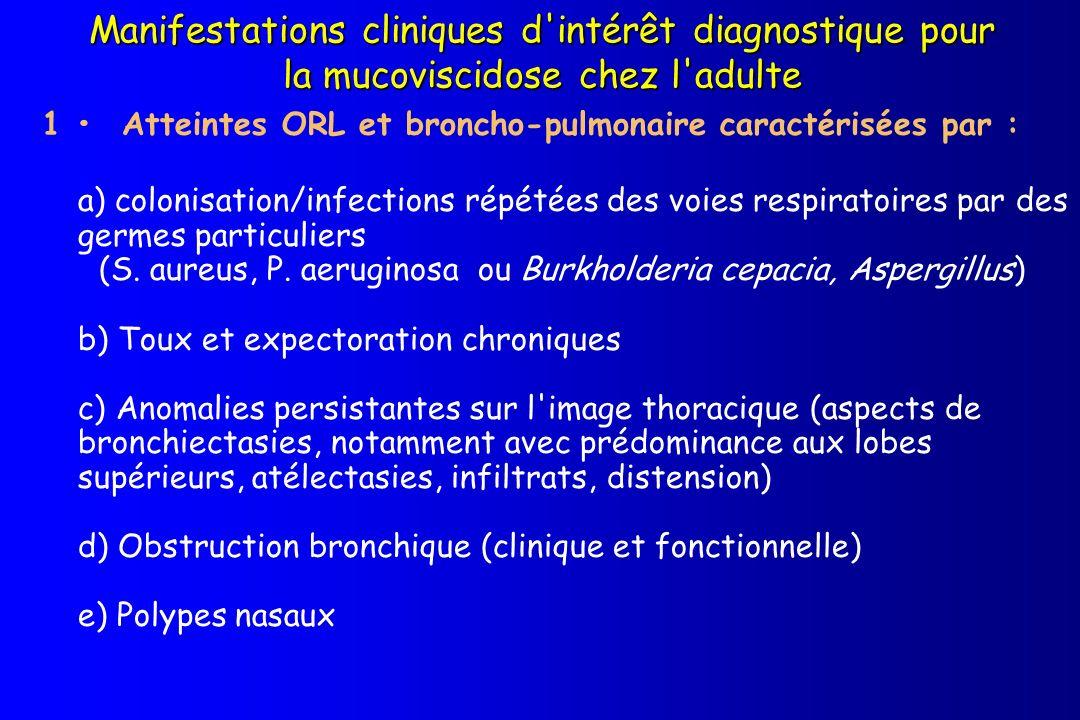 Manifestations cliniques d intérêt diagnostique pour la mucoviscidose chez l adulte