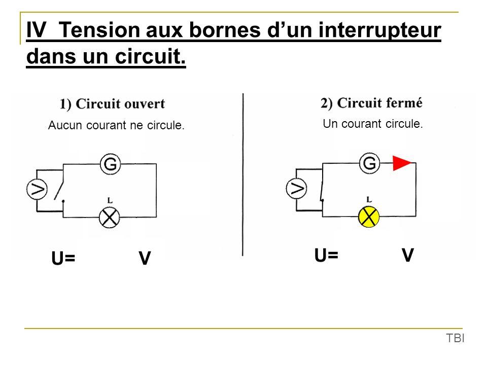 IV Tension aux bornes d'un interrupteur dans un circuit.