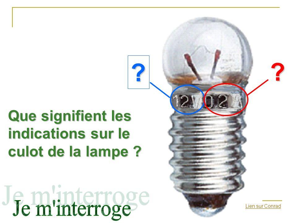Que signifient les indications sur le culot de la lampe