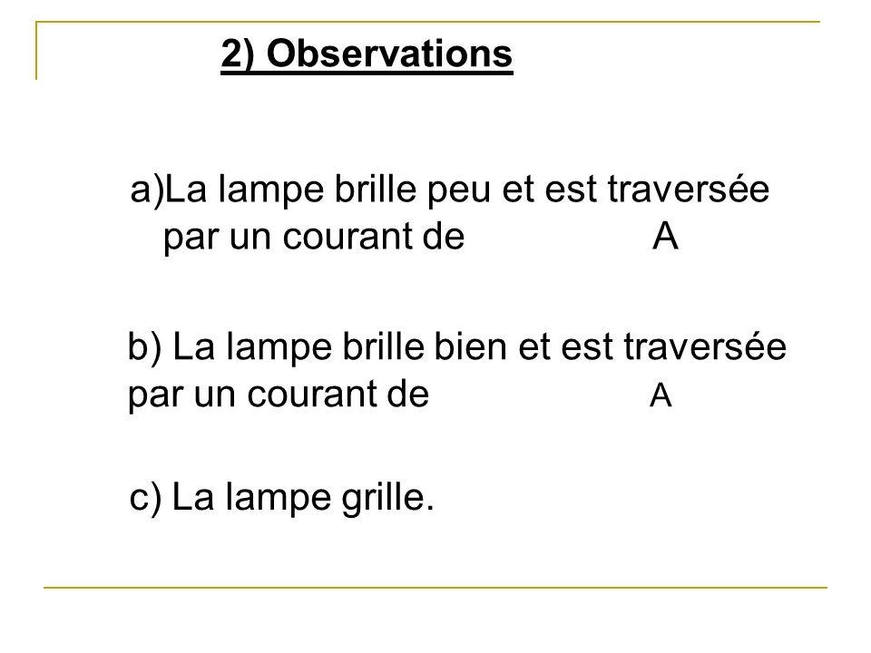 2) Observations La lampe brille peu et est traversée par un courant de A. b) La lampe brille bien et est traversée par un courant de A.