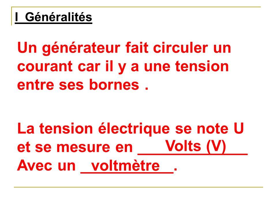La tension électrique se note U et se mesure en _____________
