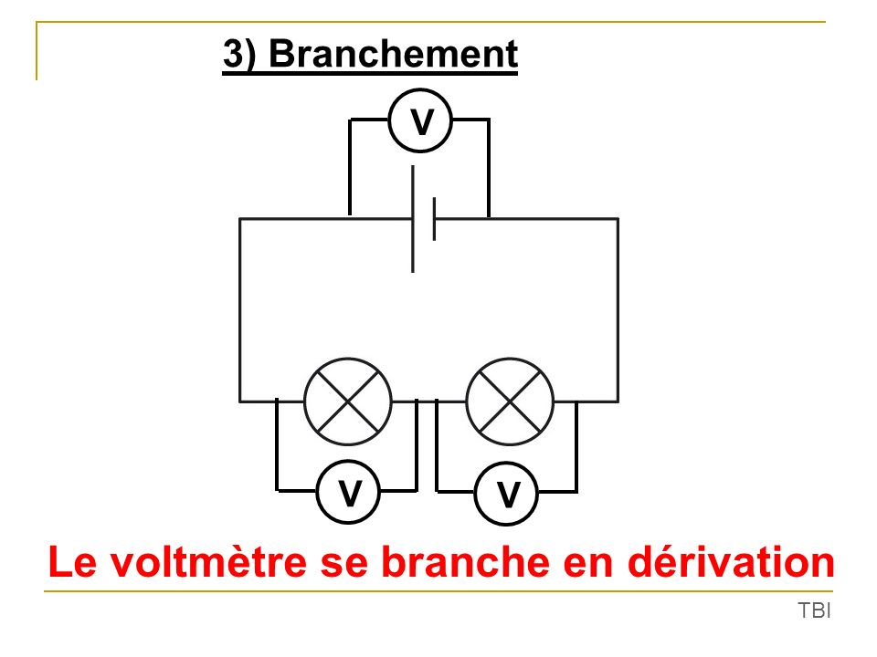 Le voltmètre se branche en dérivation