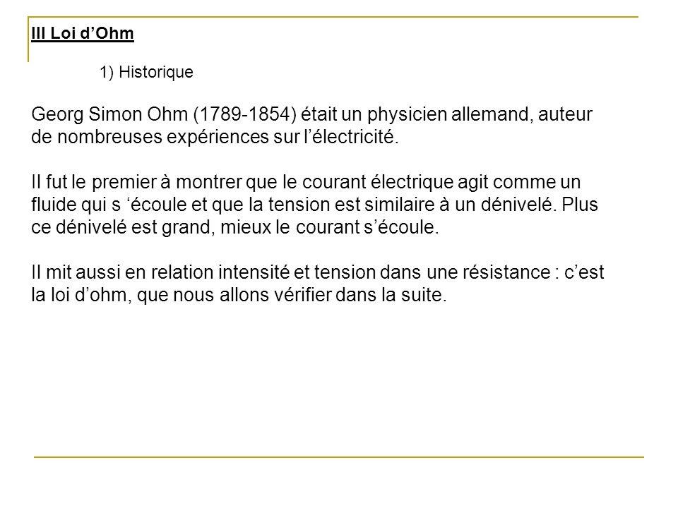 III Loi d'Ohm 1) Historique. Georg Simon Ohm (1789-1854) était un physicien allemand, auteur de nombreuses expériences sur l'électricité.