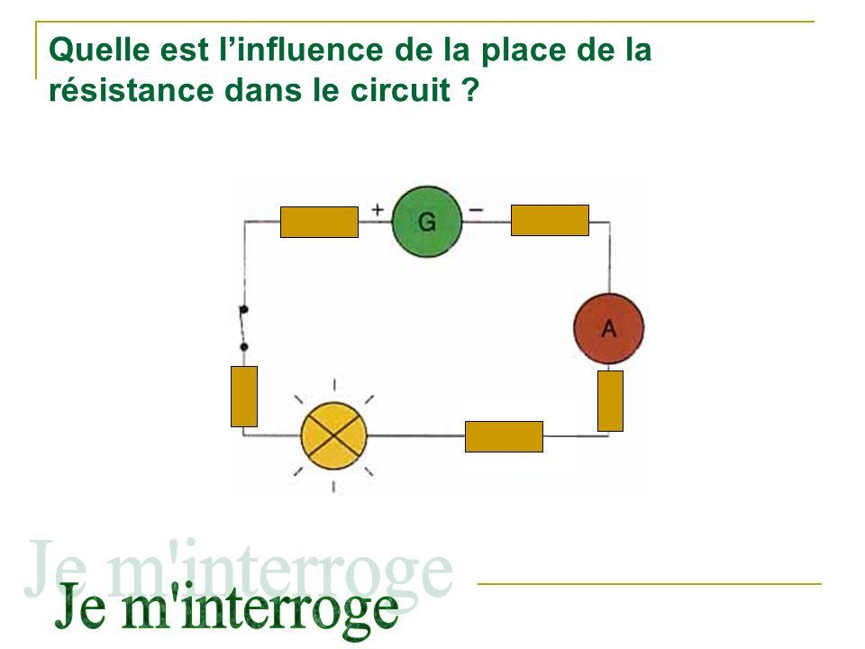 Quelle est l'influence de la place de la résistance dans le circuit