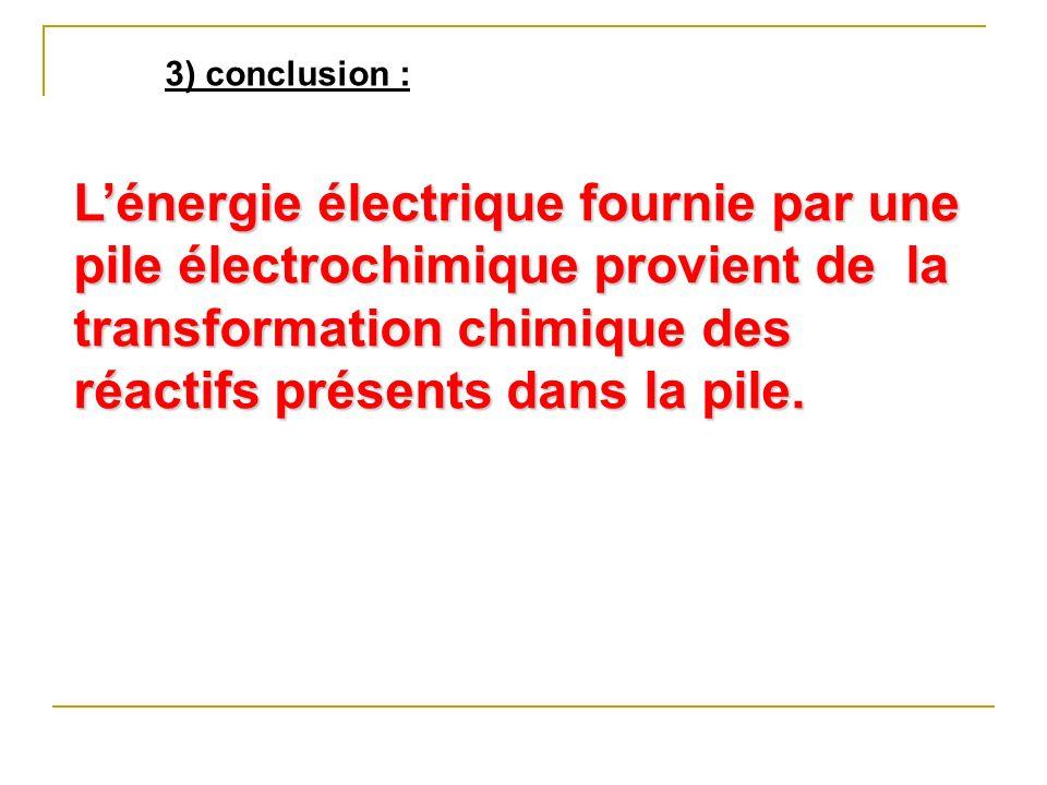 3) conclusion : L'énergie électrique fournie par une pile électrochimique provient de la transformation chimique des réactifs présents dans la pile.