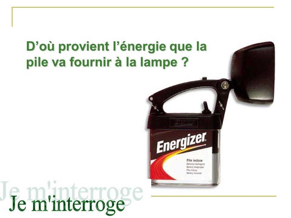 D'où provient l'énergie que la pile va fournir à la lampe