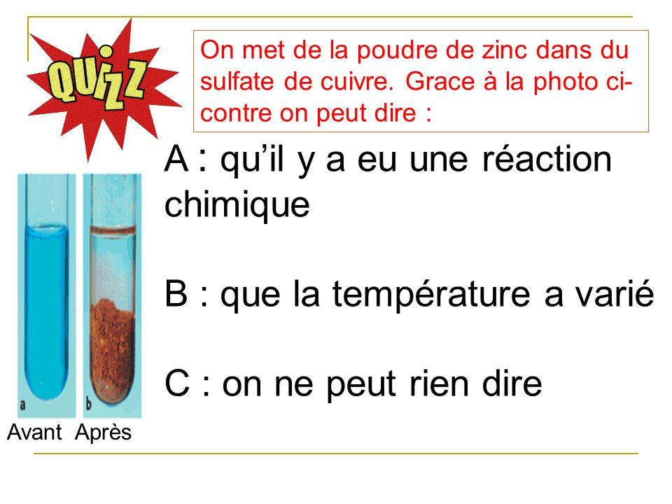 A : qu'il y a eu une réaction chimique