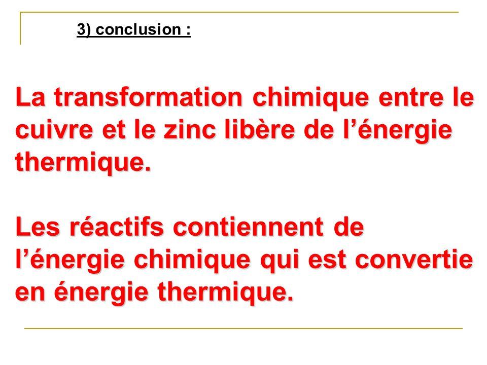 3) conclusion : La transformation chimique entre le cuivre et le zinc libère de l'énergie thermique.