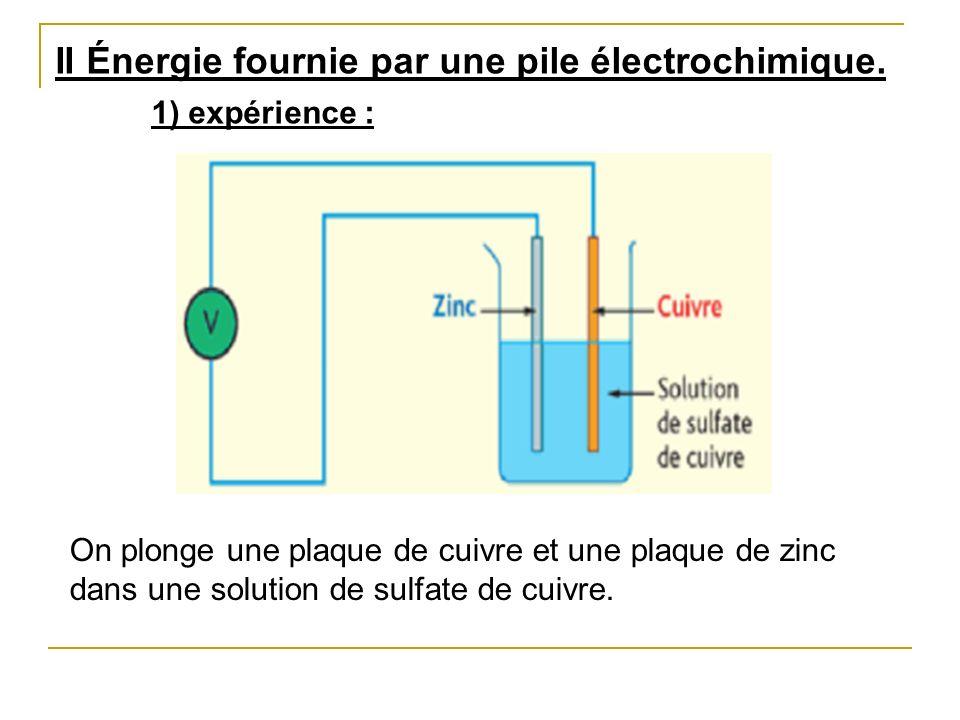 1) expérience : II Énergie fournie par une pile électrochimique.