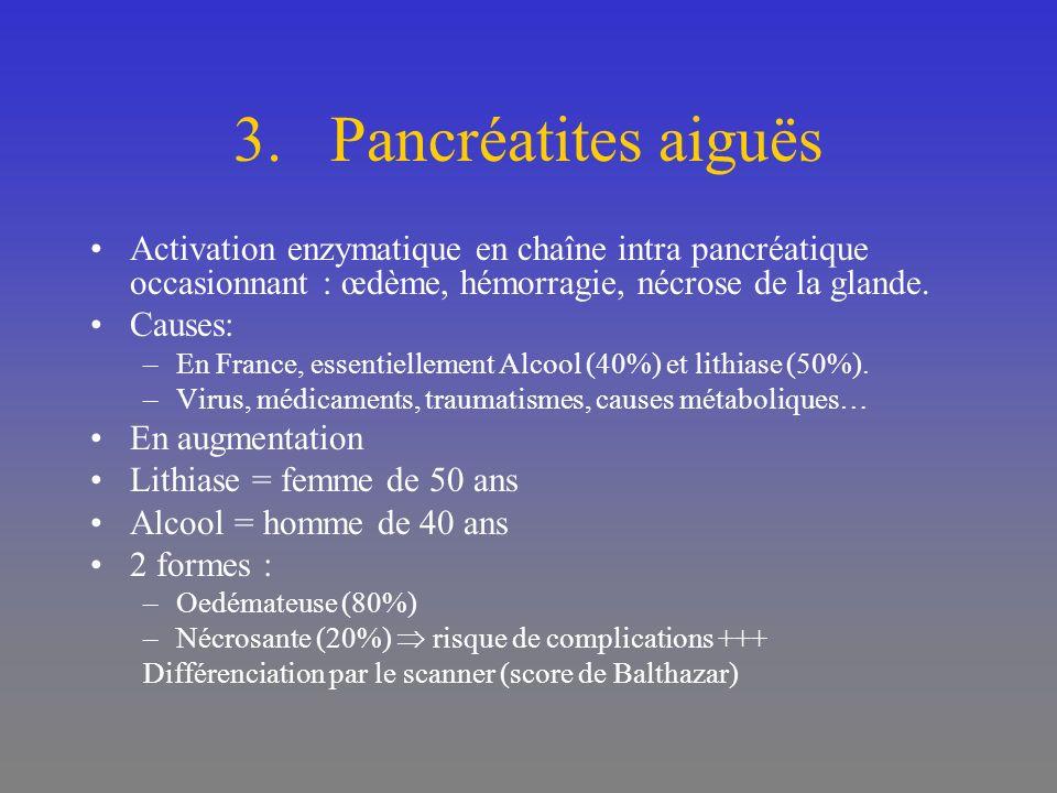 Pancréatites aiguës Activation enzymatique en chaîne intra pancréatique occasionnant : œdème, hémorragie, nécrose de la glande.