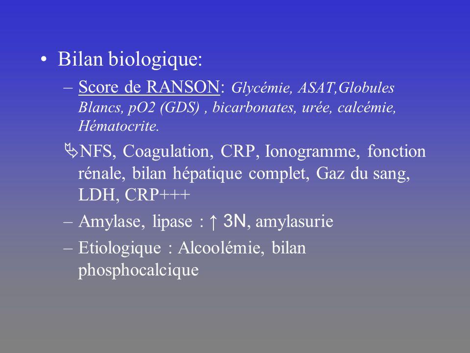 Bilan biologique: Score de RANSON: Glycémie, ASAT,Globules Blancs, pO2 (GDS) , bicarbonates, urée, calcémie, Hématocrite.