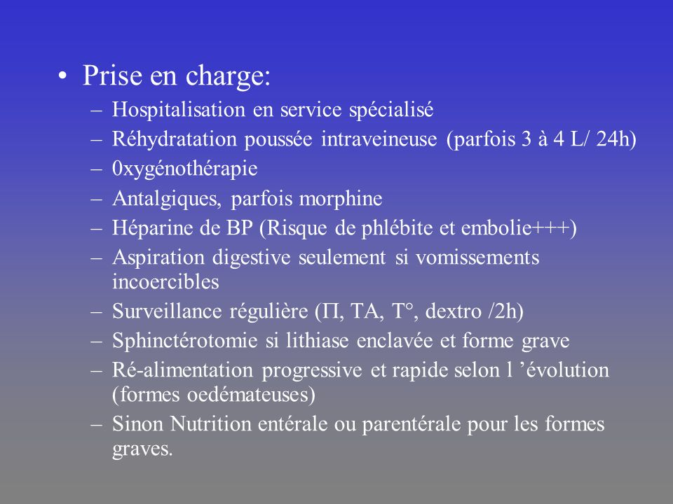 Prise en charge: Hospitalisation en service spécialisé