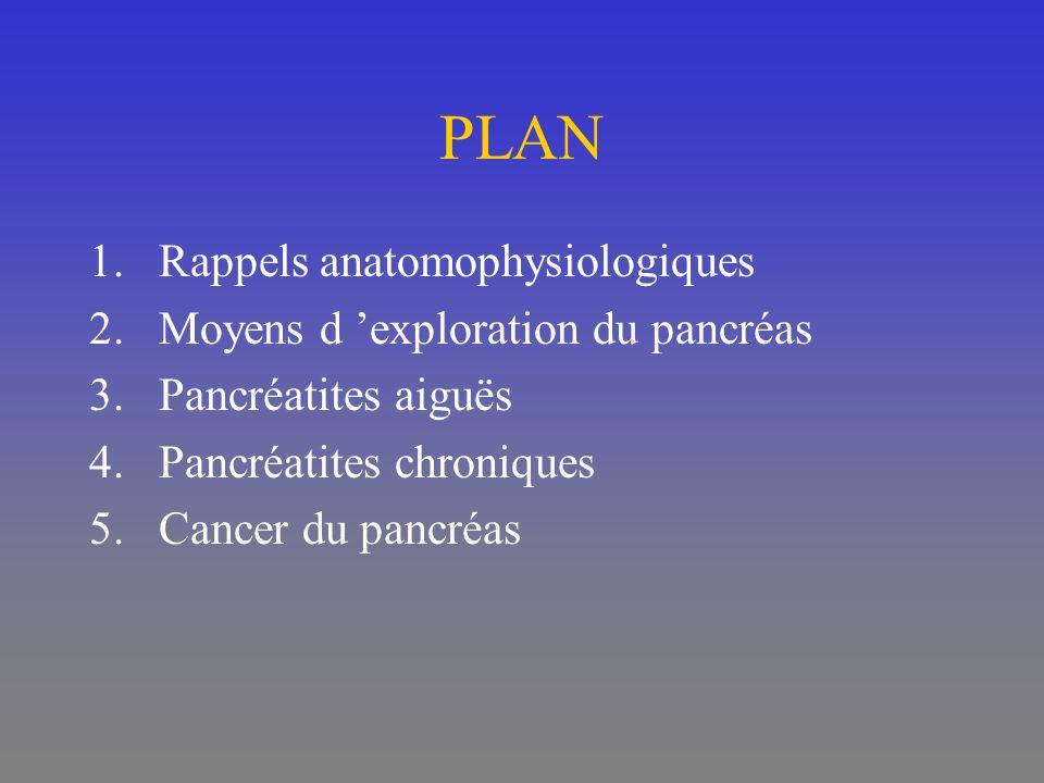 PLAN Rappels anatomophysiologiques Moyens d 'exploration du pancréas