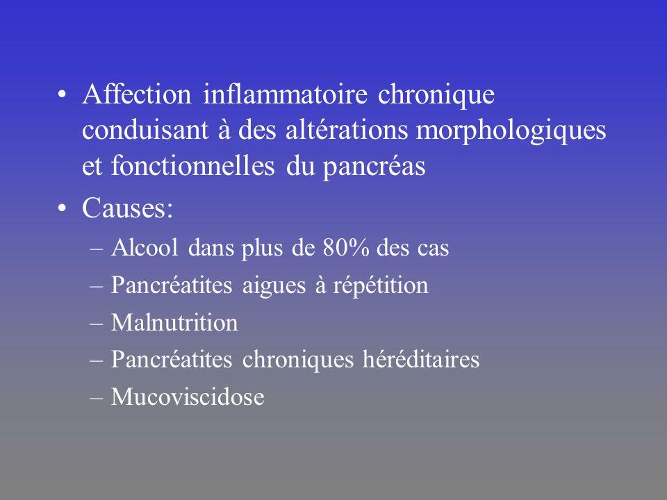 Affection inflammatoire chronique conduisant à des altérations morphologiques et fonctionnelles du pancréas