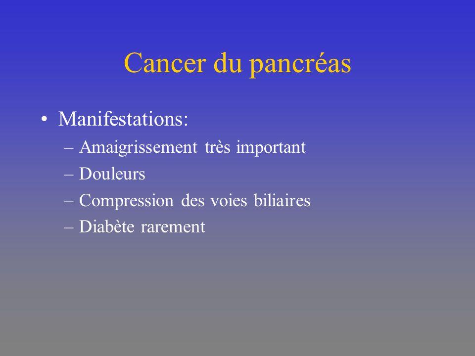 Cancer du pancréas Manifestations: Amaigrissement très important