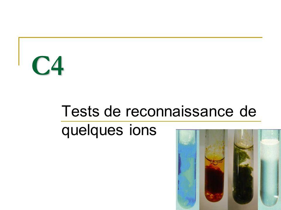 Tests de reconnaissance de quelques ions