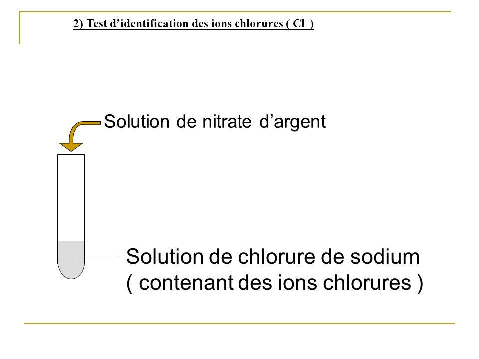 Solution de chlorure de sodium ( contenant des ions chlorures )