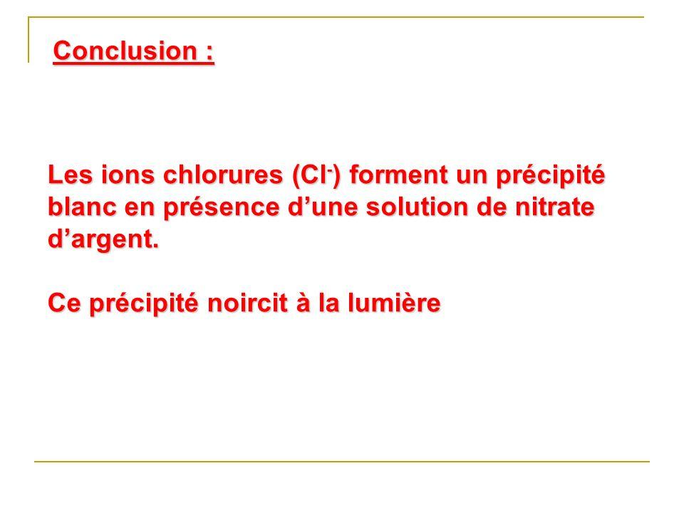 Conclusion : Les ions chlorures (Cl-) forment un précipité blanc en présence d'une solution de nitrate d'argent.
