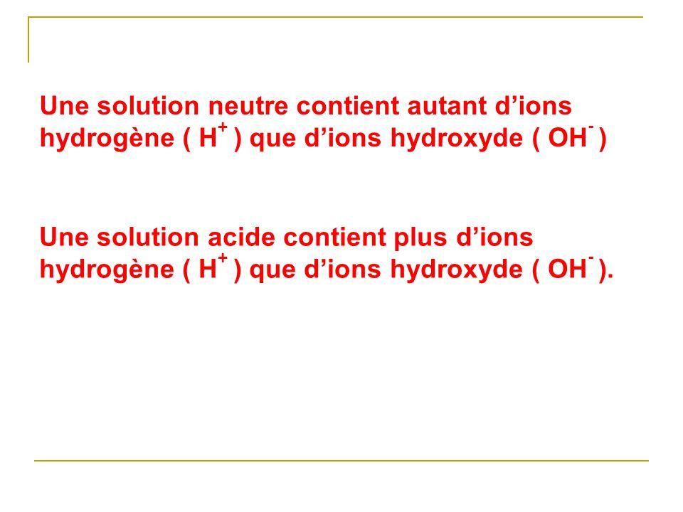Une solution neutre contient autant d'ions hydrogène ( H+ ) que d'ions hydroxyde ( OH- )