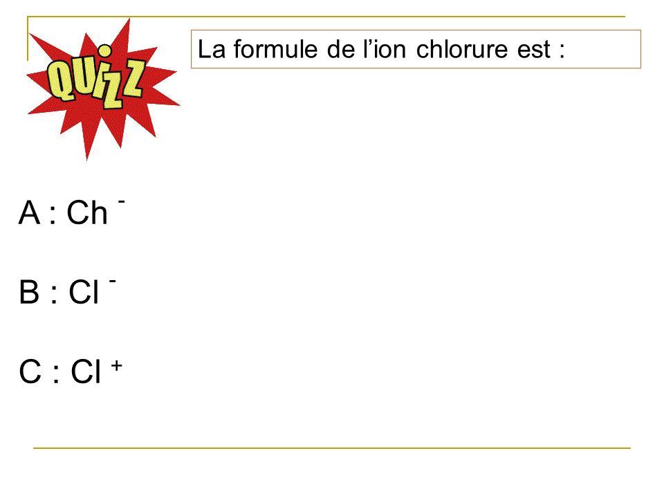 La formule de l'ion chlorure est :