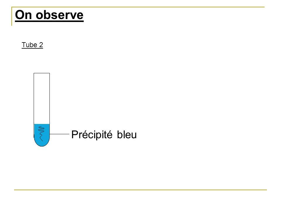 On observe Tube 2 Précipité bleu