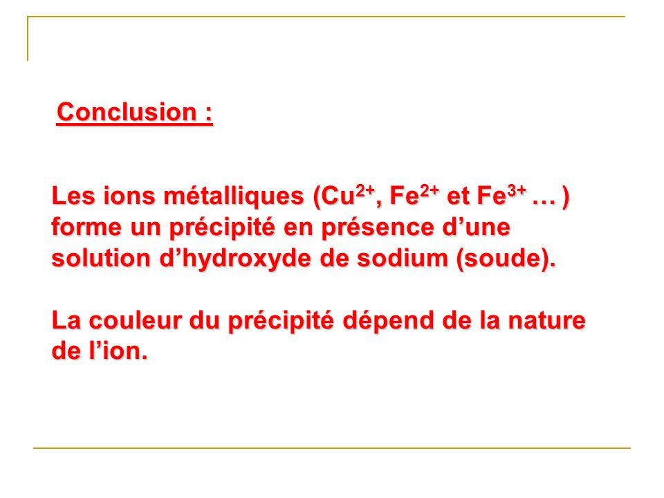 Conclusion : Les ions métalliques (Cu2+, Fe2+ et Fe3+ … ) forme un précipité en présence d'une solution d'hydroxyde de sodium (soude).