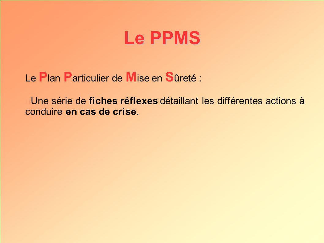 Le PPMS Le Plan Particulier de Mise en Sûreté :