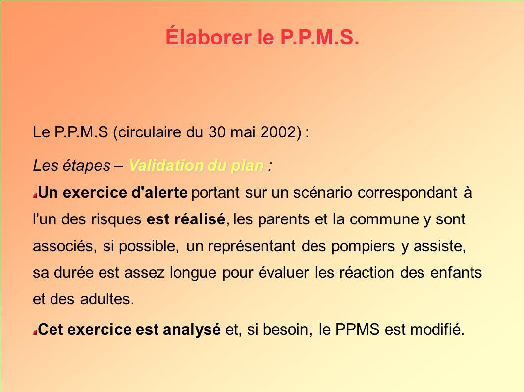 Élaborer le P.P.M.S. Le P.P.M.S (circulaire du 30 mai 2002) :
