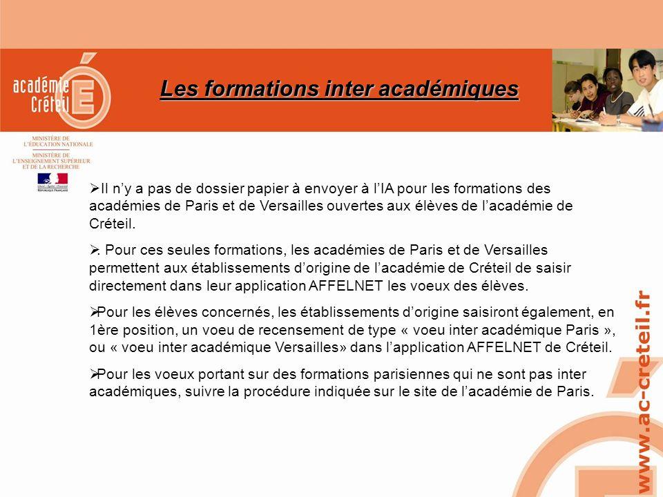 Les formations inter académiques