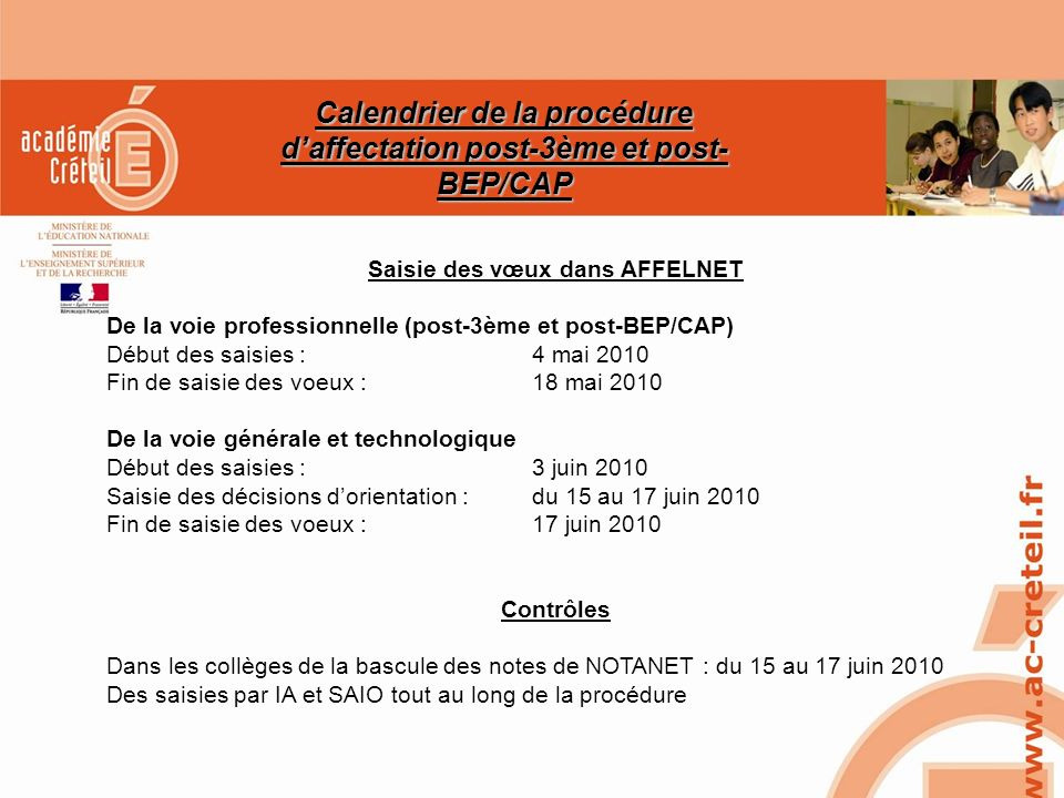 Calendrier de la procédure d'affectation post-3ème et post-BEP/CAP