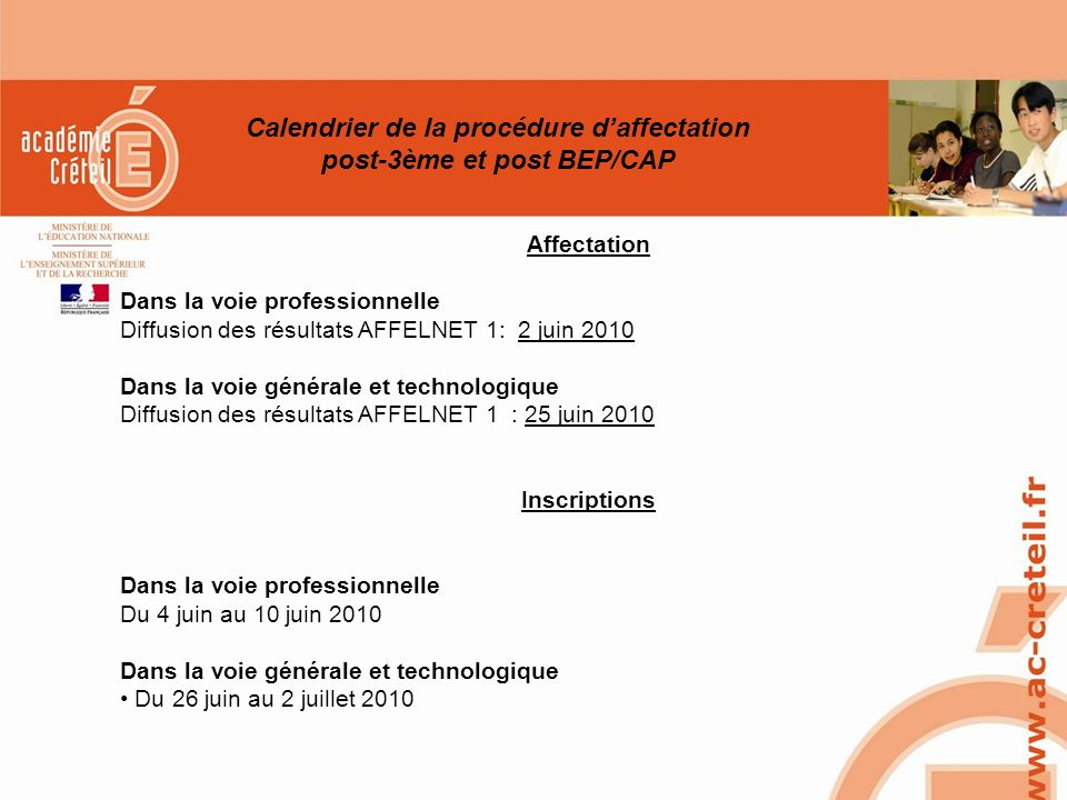Calendrier de la procédure d'affectation post-3ème et post BEP/CAP