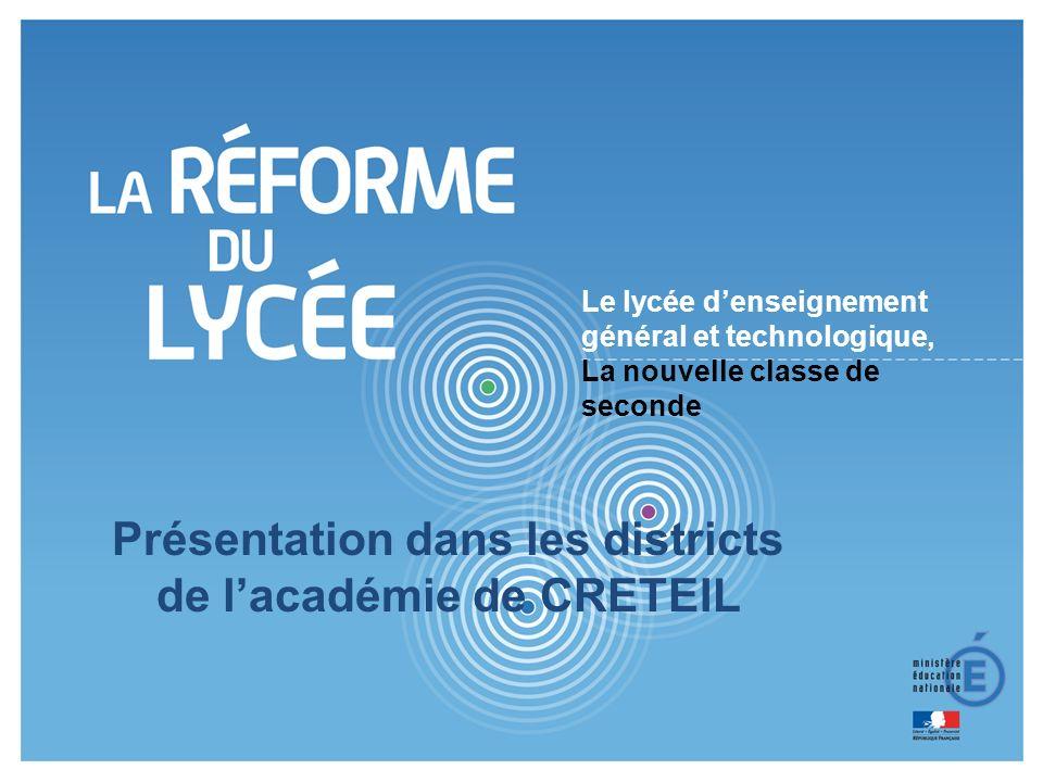 Présentation dans les districts de l'académie de CRETEIL