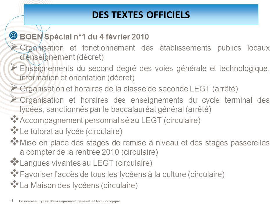 DES TEXTES OFFICIELS BOEN Spécial n°1 du 4 février 2010