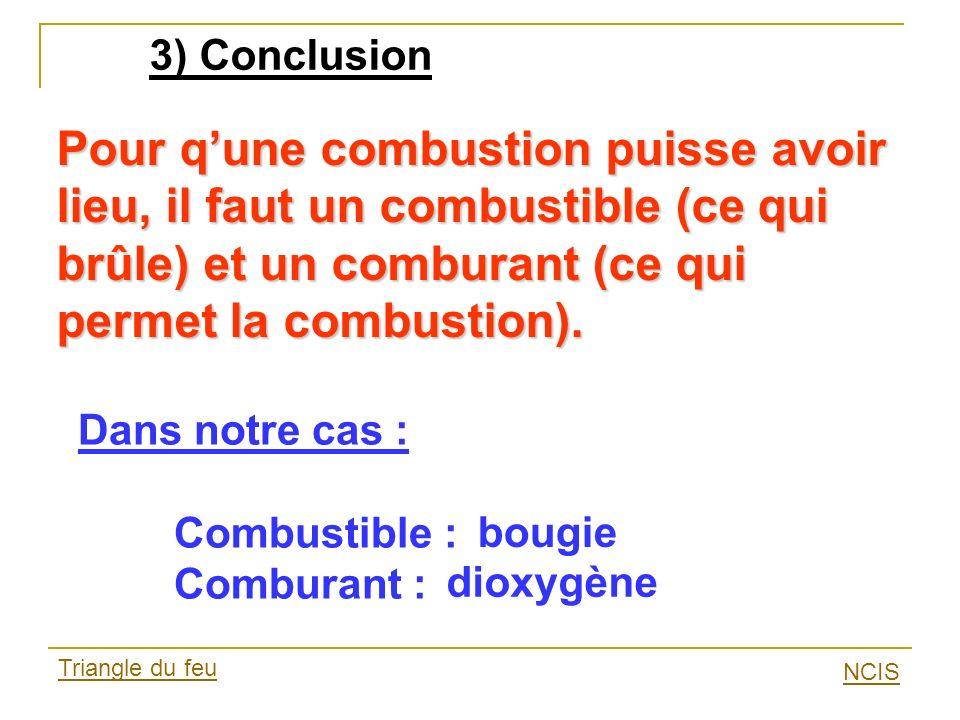 3) Conclusion Pour q'une combustion puisse avoir lieu, il faut un combustible (ce qui brûle) et un comburant (ce qui permet la combustion).