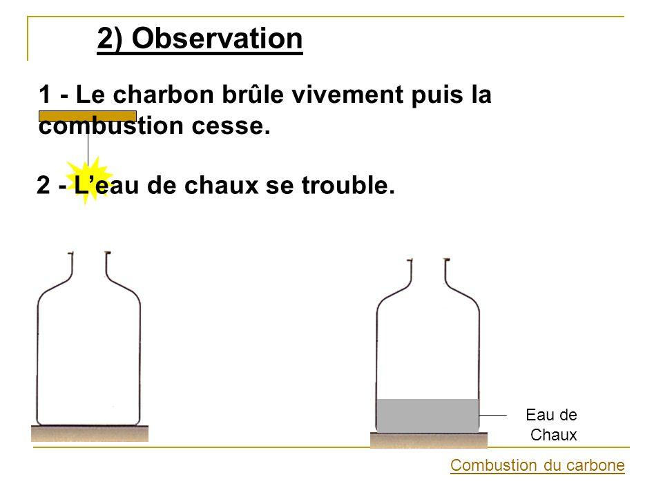 2) Observation 1 - Le charbon brûle vivement puis la combustion cesse.