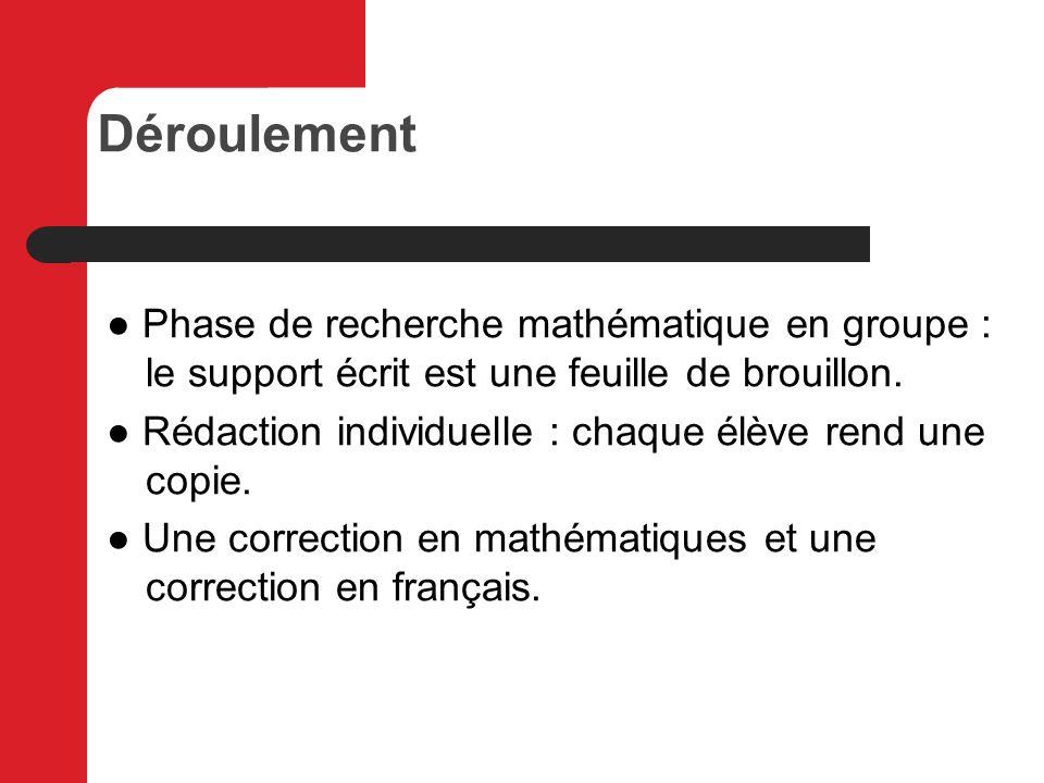 Déroulement ● Phase de recherche mathématique en groupe : le support écrit est une feuille de brouillon.