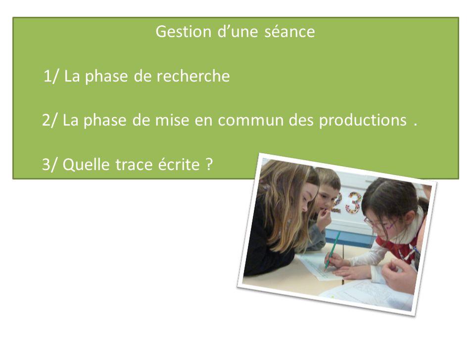 Gestion d'une séance 1/ La phase de recherche. 2/ La phase de mise en commun des productions .