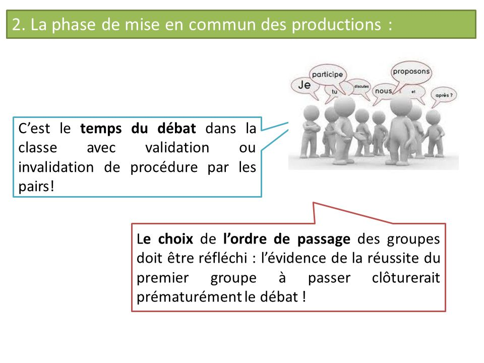 2. La phase de mise en commun des productions :