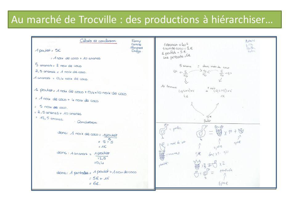 Au marché de Trocville : des productions à hiérarchiser…