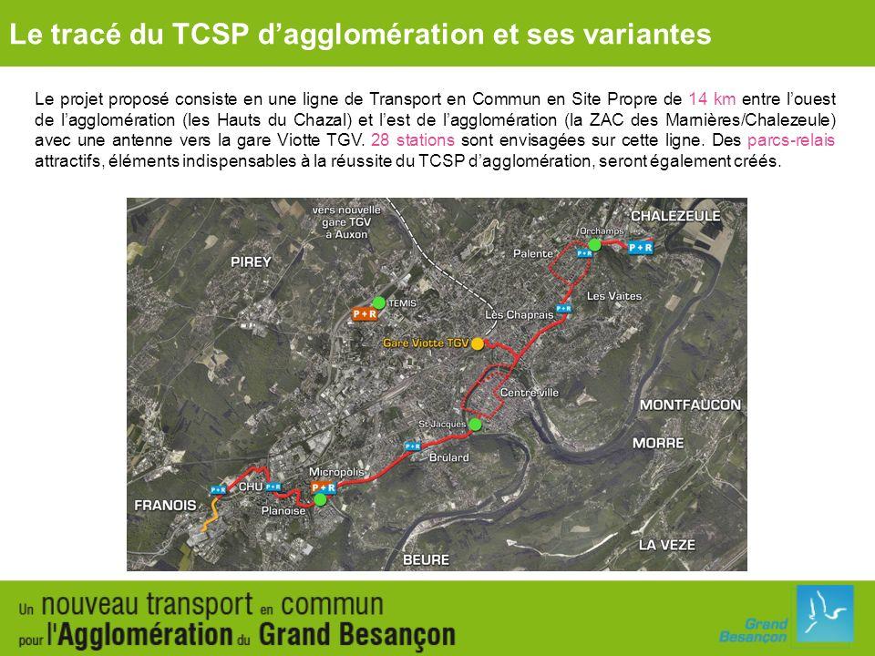 Le tracé du TCSP d'agglomération et ses variantes